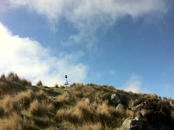 The trig on Sugarloaf, Port Hills