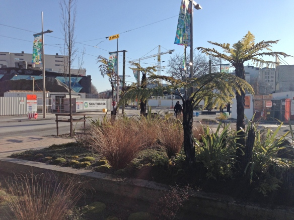 Native garden, also at the corner of Cashel and High Streets, central Christchurch